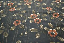 Japanese Silk Fabric Black with brown, burnt orange and khaki floral design 1436