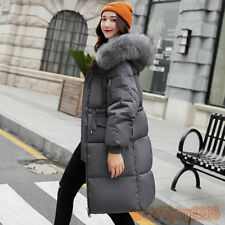 Womens Plus Size Fur hooded Padded Winter Coat Puffa Parka Down Jacket Thick