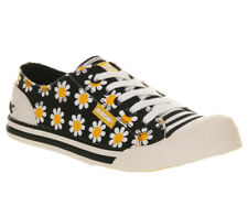 Rocket Dog Womens Trainers Canvas Floral Daisy Shoes Black White Yellow, Size 3