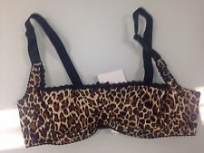 Bettie Page Inspired Secrets in Lace Leopard and Black Plunge Bra Size 40B-New