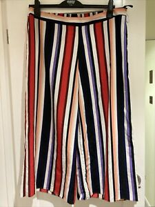 Ladies Primark Cropped Striped Trousers Size 20 New Without Tags