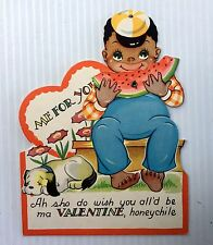 Vintage Moveable Black Americana Valentine Card (watermelon rotates)