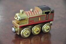 THOMAS TANK TRAIN SET Wooden Railway Engine METALLIC GOLD Collector - Excellent