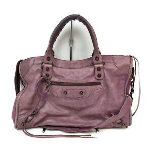 BALENCIAGA Hand Bag The City 115748 Purple Leather 2203285