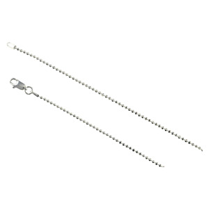 Sterling Silver Diamond Cut Bead Ball 1.5mm Necklace Chain Dog Tag Shiny Jewelry