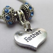 Father Heart Charm And Birthstone European Beads For Charm Bracelets