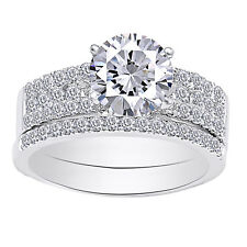 Moissanite & Real Diamond 2.08 Cttw Solitaire W/Accent Band Ring Set 14k Gold