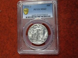1938 D Walking Liberty Half Dollar,PCGS MS63??Blast White,Gem BU,Super Minty,WOW