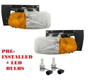 STERLING TRUCK 9522 9513 1999-2009 HEADLIGHTS HEAD LAMPS LIGHTS PAIR W/LED BULBS