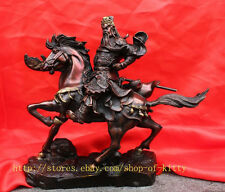 Collection Chinese Bronze Dragon Warrior Guan Gong on horse Statue