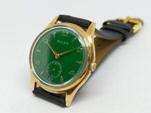 Vintage Rolex Men's Wrist Watch Green Face Gold Dial 35mm Antique