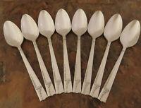 Oneida Caprice 8 Teaspoons Spoons Nobility Vintage Silverplate Flatware Lot K