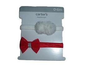 Carter's Red White Holiday Collection Baby Girl's 2 Head Wraps