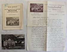 Konvolut Brief AK & Broschüre Pension & Cafe Guncina Guntschna Gries Italien xz