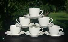Relief White Bone China Tea Cups/Saucers Dishwasher & Microwave Safe & Oven Safe