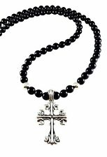 MENS HEAVY CELTIC CROSS SOLID STERLING SILVER 925 BLACK ONYX BEADED NECKLACE 30""
