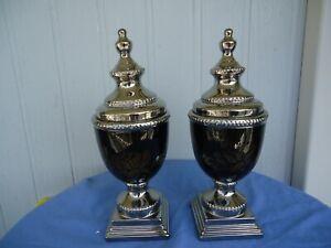pair 2 large silver & black urn vases with lids rose design