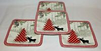222 Fifth Bridgeton Lodge Moose Red Christmas Tree Porcelain Four Salad Plates