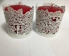 New ListingMetal Candle Holders Set of 2 Votive Tea Light Column Birds Tree Design