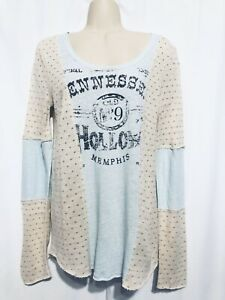 Free People Tennessee Hollow Memphis Top Size Medium Womens Knit Mix Graphic