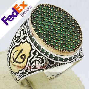 Turkish Handmade 925 Sterling Silver Emerald Ottoman Vav Elif Men's Ring AllSize