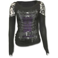 Spiral Direct WAISTED CORSET Long Sleeved Shoulder Lace Top, Steam Punk, Goth