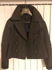 Belstaff Khaki Pea coat With Leather Detail size IT 38 - BNWT