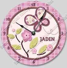 Wall Clock SUGAR PLUM Personalized Nursery Baby Toddler Girl Custom Room Decor