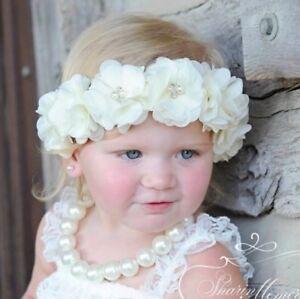 Baby Girl Newborn Hair Band headband Baptism Wedding Christening