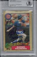 Rafael Palmeiro Chicago Cubs 1987 Topps Rookie Inscribed Signed Card Beckett