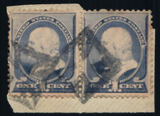 Scott #212 VF 1c Ultramarine - Franklin - Used Pair - Fancy Cancel - 1887