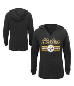 Pittsburgh Steelers Girls' Game Time Gray Burnout Hoodie XS