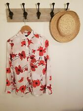 NWT J Crew Silk Blouse Top Floral Poppies Ivory Red Poppy Button Up 2 Tall 2T