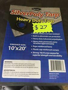 Silver Heavy Duty Tarp 10 ft. x 20 ft.Multi Sizes Poly Cover Tent Tarps Canopy