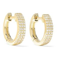 1Ct Diamond Huggie Hoop Earrings 14K Yellow Gold Finish Real Silver Christmas
