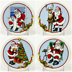 """MWW Market MERRY CHRISTMAS SANTA 4.5"""" Mini Plate Set 4Pc Reindeer Tree List"""