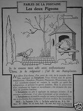 PUBLICITÉ 1924 AUTOPLASME FABLES DE LA FONTAINE LES DEUX PIGEONS - ADVERTISING