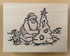 Mounted Rubber Stamp, Santa, Christmas Stamps, Santa on Beach w/ Tree, Summer