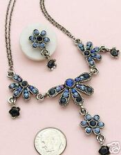 Victorian Style Antique Silver Crystal Flower Sapphire