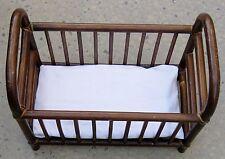 "Brown 16"" Bent Wood Doll Crib Bed w Foam Rubber Mattress"