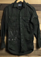 Polo Ralph Lauren Small Black Military Combat Shirt RRL Snow Beach Rugby Bomber