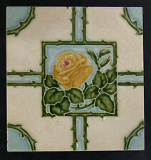 Art Nouveau Antique Yellow Rose Tile England