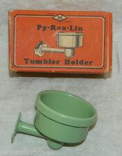 PY-ROX-LIN Vintage Udylite Green Tumbler Holder in Box - NOS - Bathroom Decor