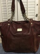 Michael Kors Burgundy Soft Leather Hobo Shoulder Handbag Chain Straps Distressed