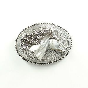 HORSE Flowing MANE ~Western Belt Buckle~ Horsehead Mustang Silver Cowgirl  37012