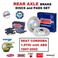 Para Seat Córdoba 1.9TDi +ABS 1997-2002 Eje Trasero Discos de Freno + Pastillas