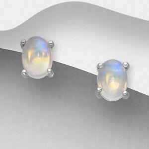 925 Sterling Silver Genuine 0.56 Carat Ethiopian Opal Oval Stud Earrings Women