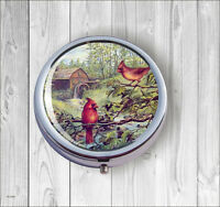 BIRDS RED CARDINAL WATER MILL BACKGROUND PILL BOX ROUND METAL -dht5Z