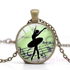 New Cabochon Glass Necklace bronze charm Retro pendants:ballet girl, dj 657