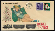 1950s Lionel Trains & Pin Up Girl Featured on Xmas Collector's Envelope *XS382